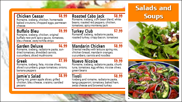Salad Menu Board - 10 Items