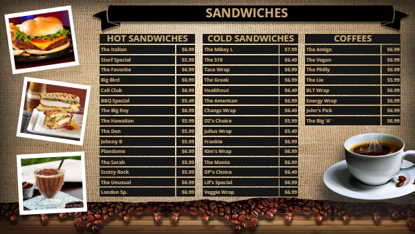 Cafe Menu Board for 38 Items