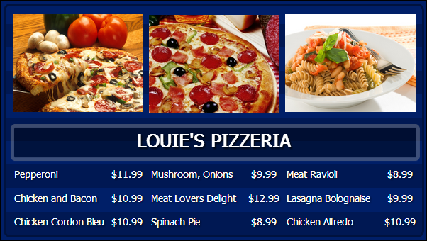 Digital Menu Board - 9 Items